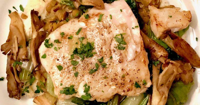 Day 11: Hake, Celeriac Puree, Braised Lentils & Wild Mushrooms