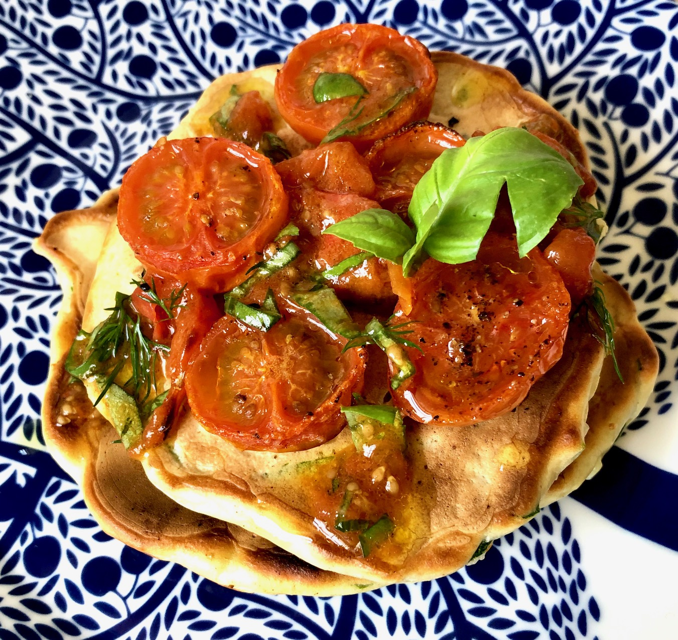 Day 16: Courgette Pancakes with Roasted Tomatoes