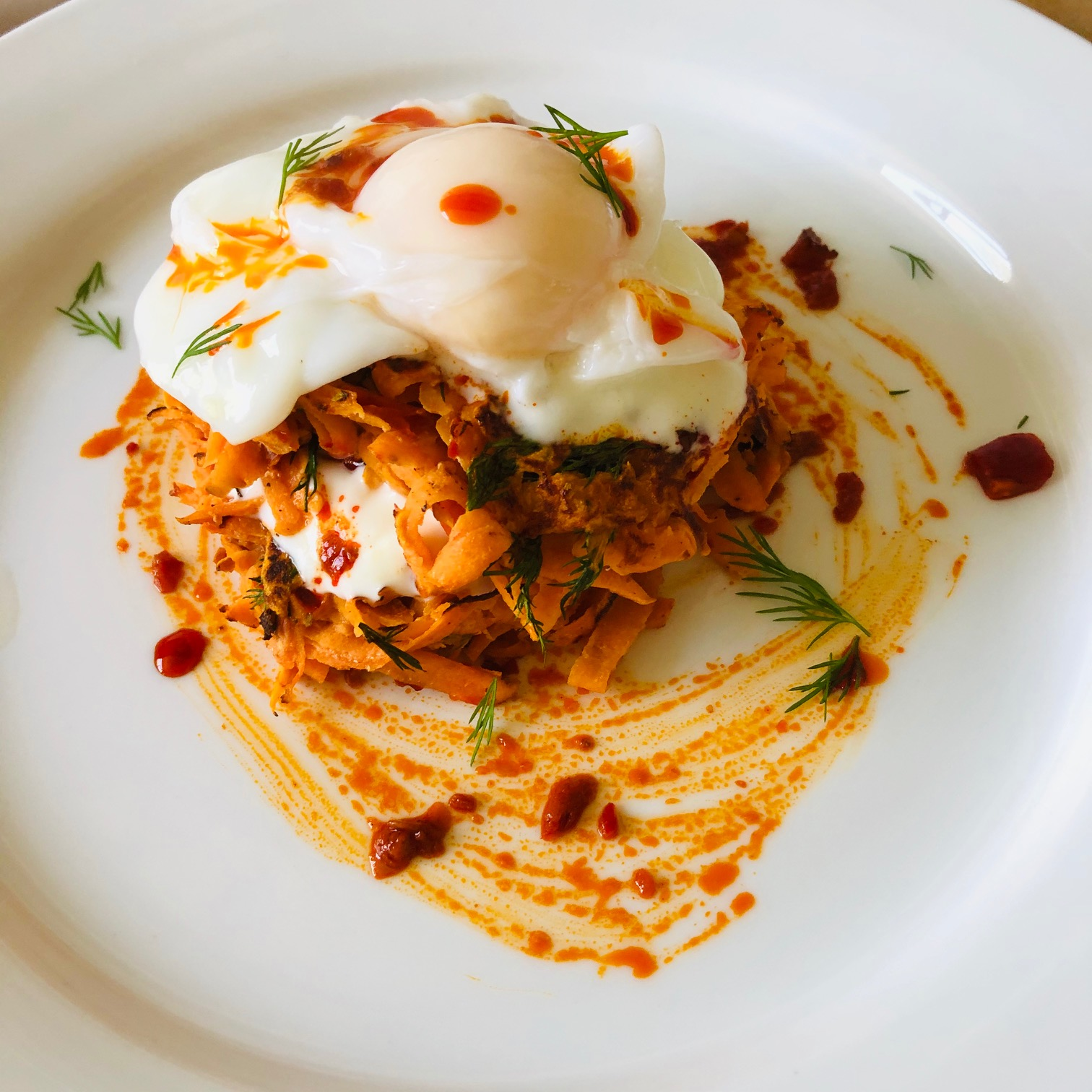 Day 19: Sweet Potato Harissa Cakes with Poached Egg