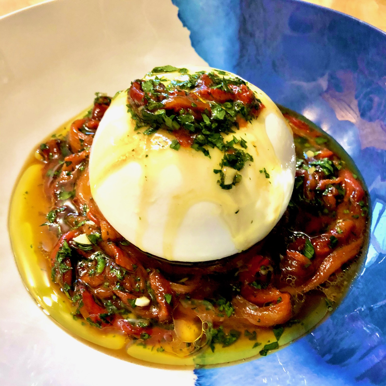Day 38: Burrata with Marinated Roasted Peppers
