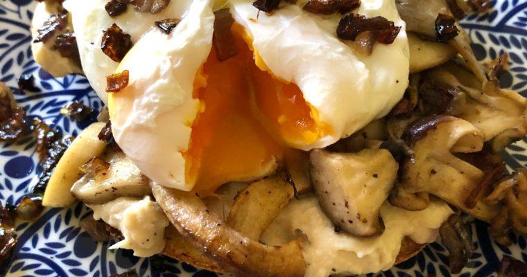 Day 69: Wild Mushrooms, White Bean Hummus & Poached Egg on Sourdough