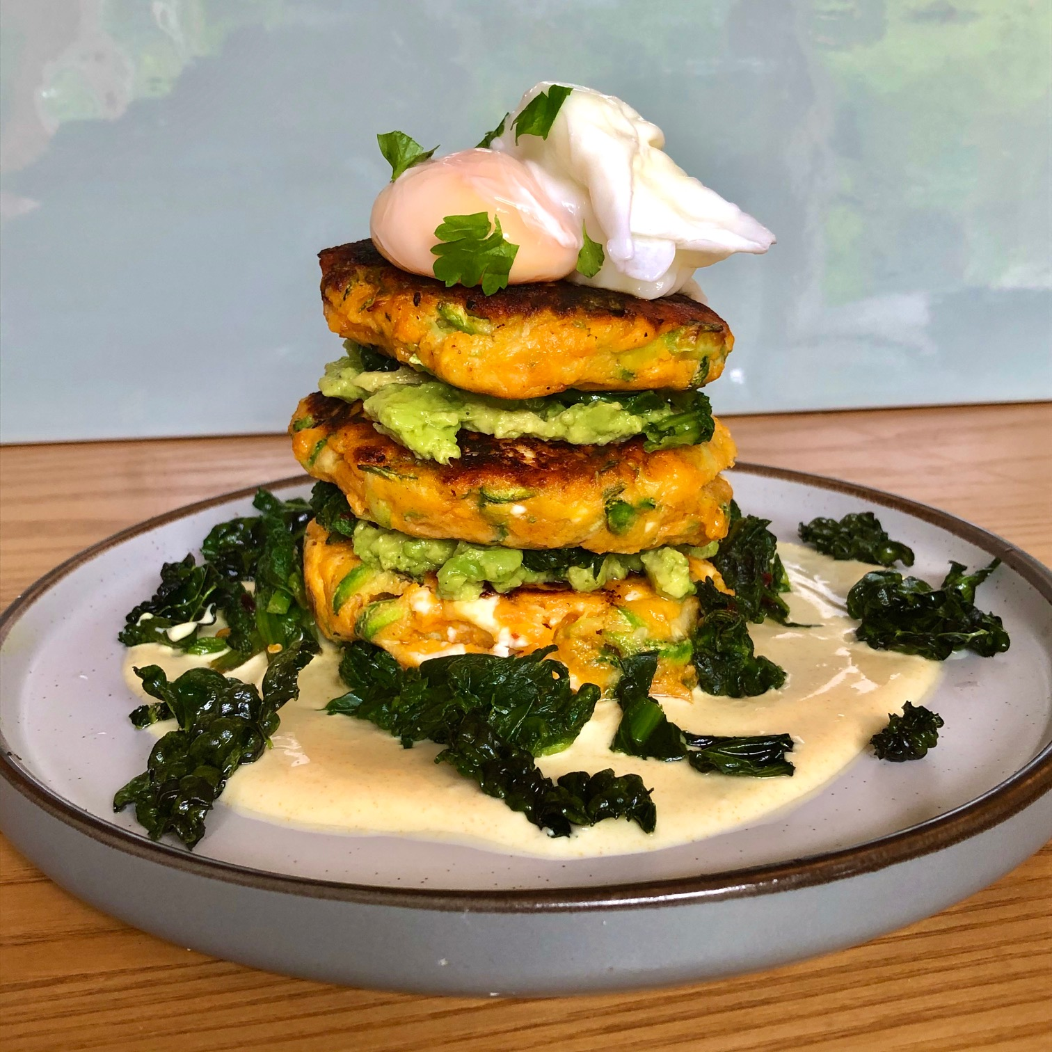 Day 76: Sweet Potato, Courgette & Feta Fritters with a Poached Egg