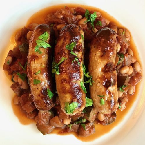 sausages with bean cassoulet