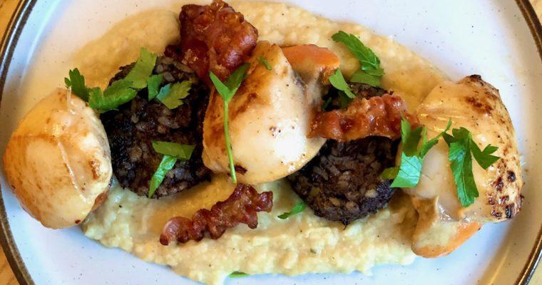 scallops morcilla pancetta