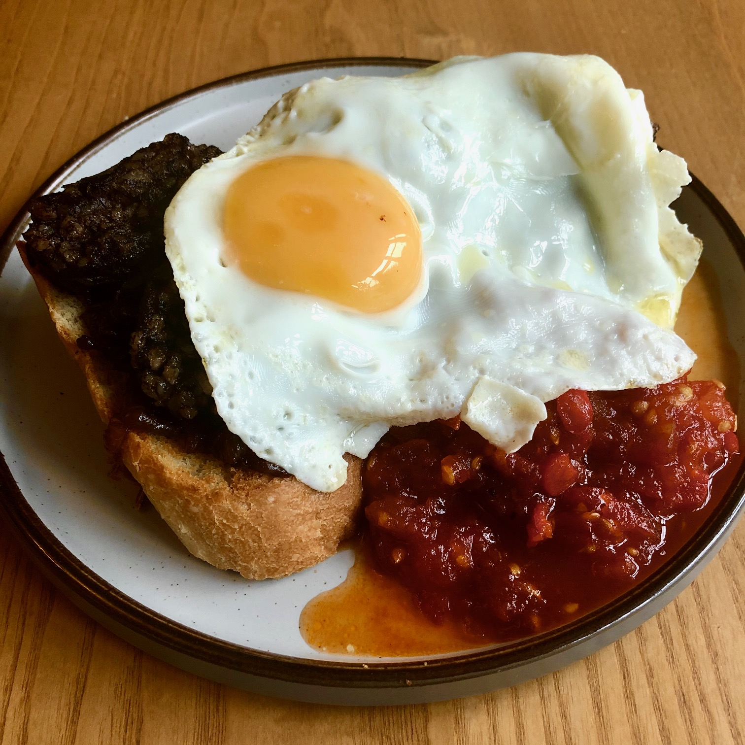 Morcilla & Fried Egg on Toast with Spicy Tomato Ketchup