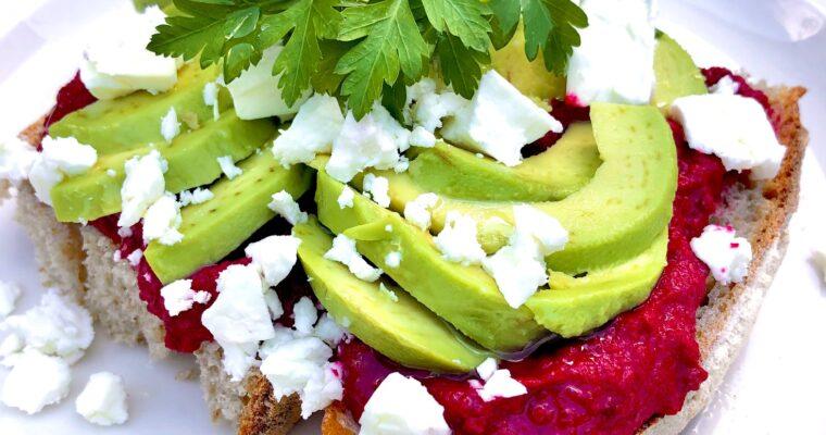 Beetroot Hummus, Avocado & Feta on Sourdough