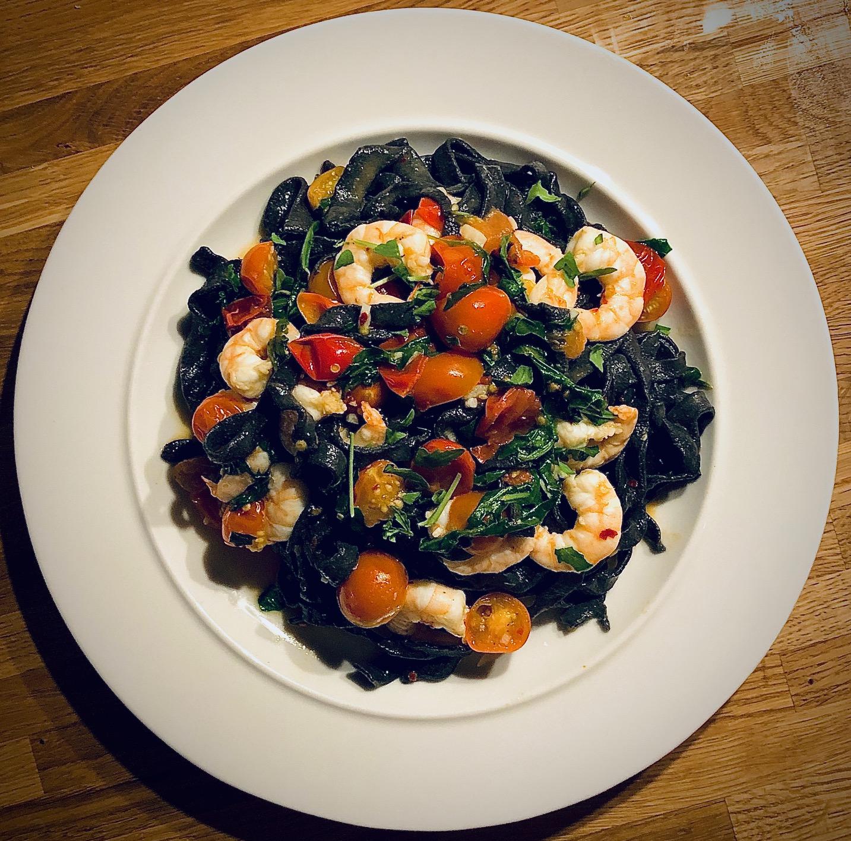 Squid Ink Linguine, King Prawns, Tomato, Chilli & Rocket