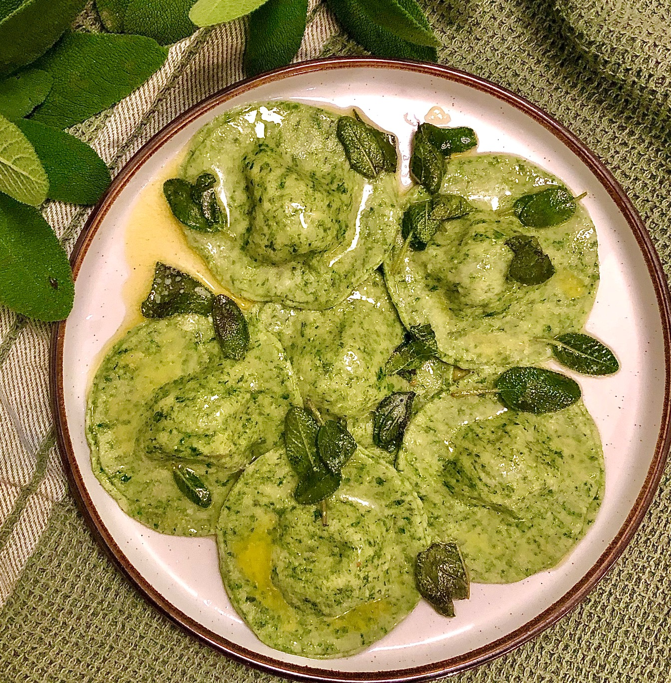 Spinach & Squash Ravioli with Sage Butter Sauce