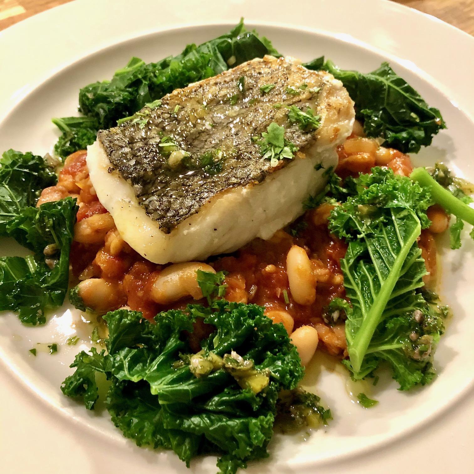 Hake, Pancetta & Brown Shrimp Cassoulet, Kale and Salsa Verde