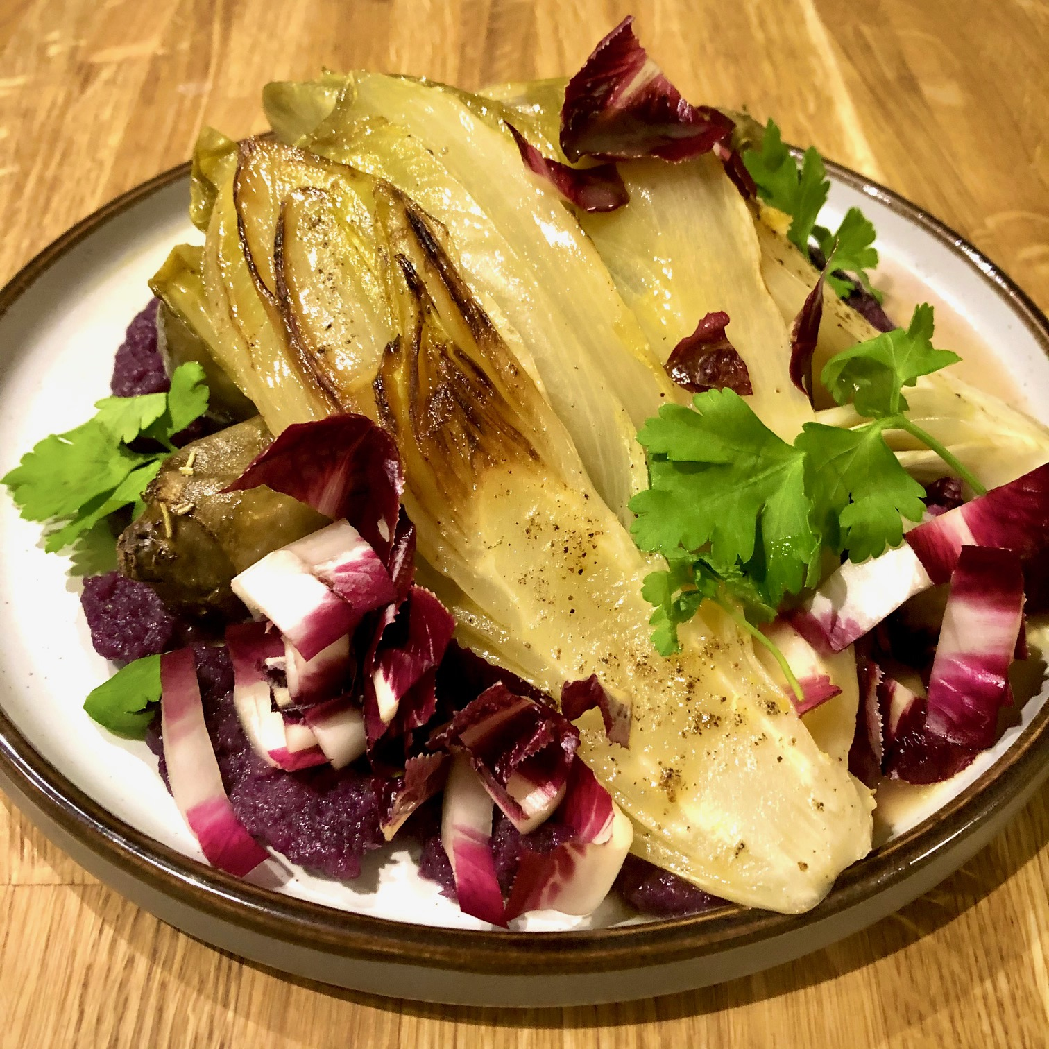 Jerusalem Artichoke, Braised Red Cabbage Puree, Orange Glazed Chicory