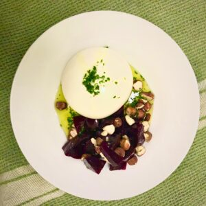 burrata with beetroot and hazelnuts